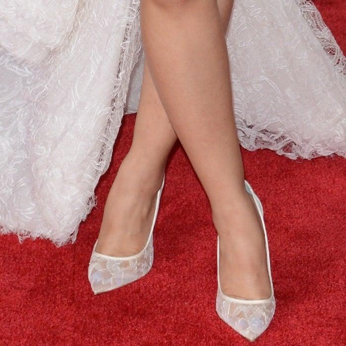 "Cardi B wearing ""Follies Lace"" pumps from Christian Louboutin"