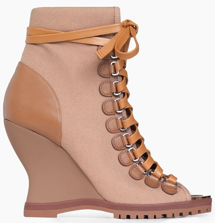 "Chloe ""River"" lace-up wedge booties"