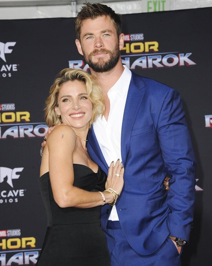Chris Hemsworth with his wife Elsa Pataky by his side at the premiere of 'Thor: Ragnarok' at the El Capitan Theatre in Hollywood on October 10, 2017