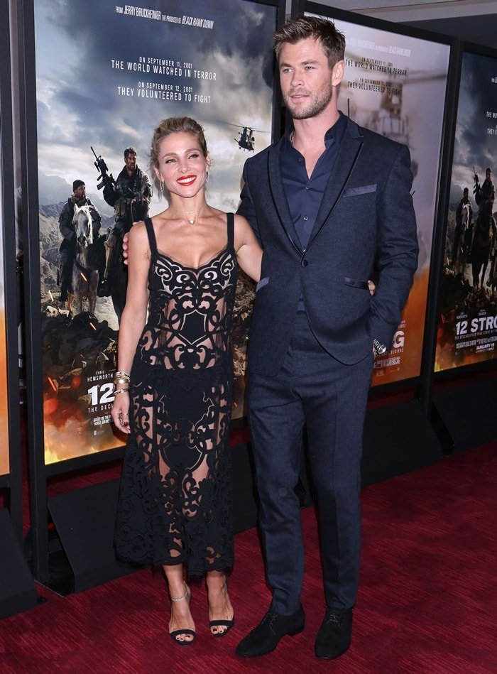 Chris Hemsworth and Elsa Pataky on the red carpet at the premiere of their movie '12 Strong' at Jazz at Lincoln Center in New York City on January 16, 2018