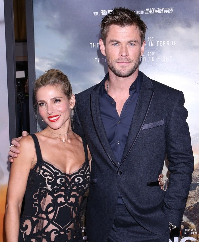 Chris Hemsworth and Elsa Pataky hit the red carpet to promote their movie '12 Strong' at Jazz at Lincoln Center in New York City