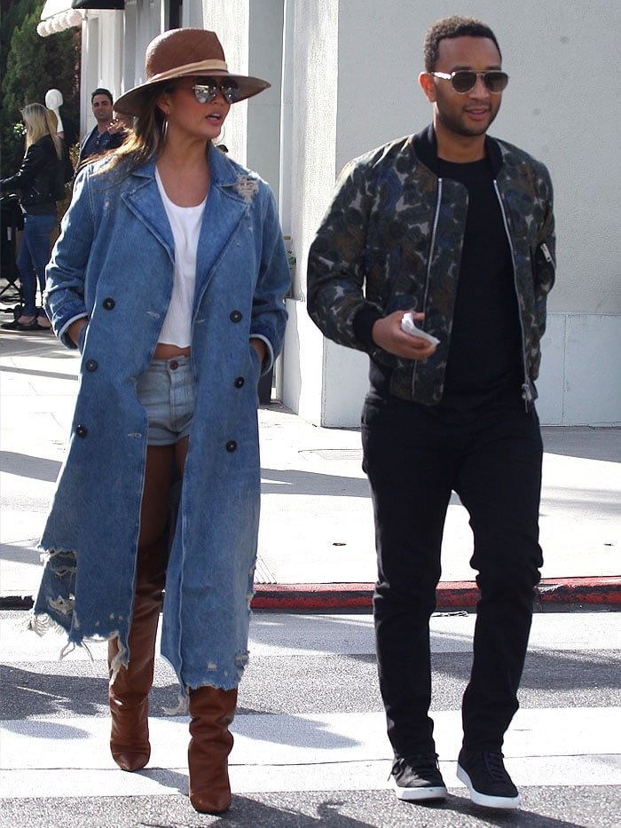 Chrissy Teigen and John Legendon a lunch date at Il Pastaio in Beverly Hills, California, on January 15, 2018.