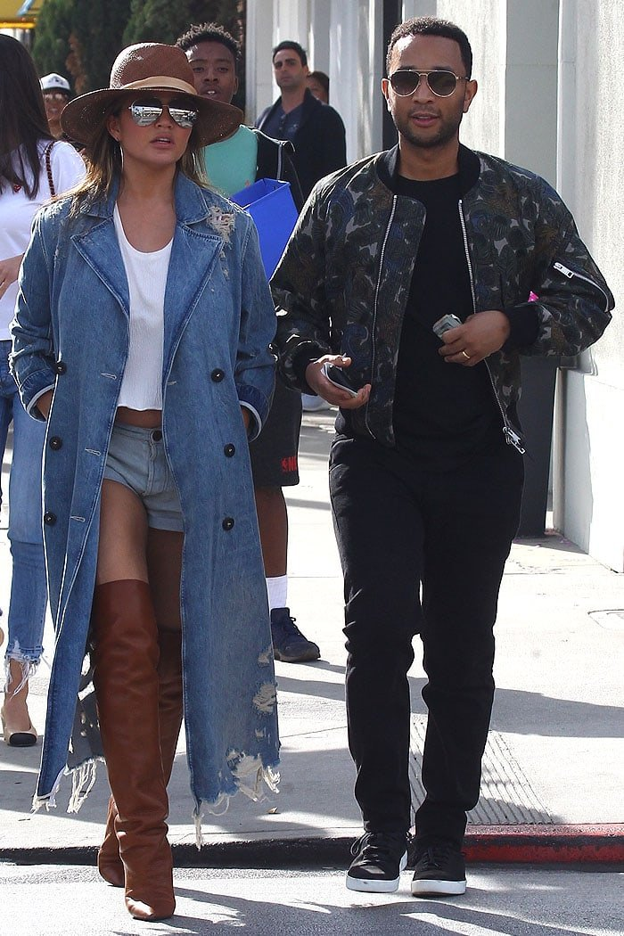 Chrissy Teigen and John Legend on a lunch date at Il Pastaio in Beverly Hills, California, on January 15, 2018.