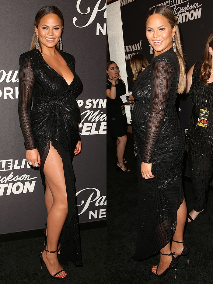 Chrissy Teigen looked flawless from the ankles up, but she unfortunately ruined her Lip Sync Battle look with dirt-caked stiletto heels