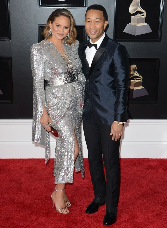 Chrissy Teigen and John Legend at the 2018 Grammy Awards held at Madison Square Garden in New York City on January 28, 2018