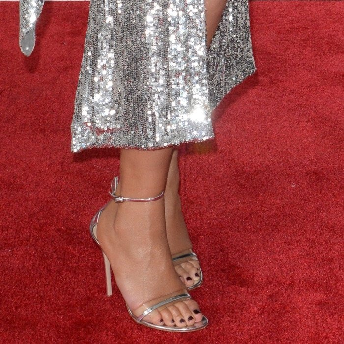 Chrissy Teigen showed off her feet in Gianvito Rossi 'Portofino' ankle-strap sandals