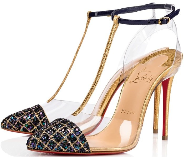 Christian Louboutin 'Nosy' 100 mm in Gold Embossed Dino Laminato Leather, Patent and China Blue Aliglitter