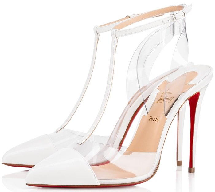 Christian Louboutin Nosy 100 patent-leather and PVC T-bar pumps in white