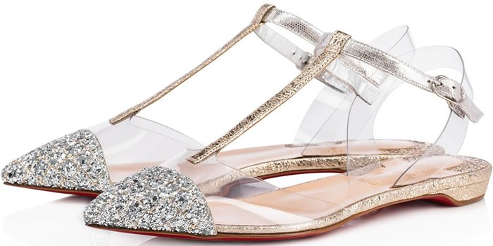 Christian Louboutin 'Nosy Flat' in Silver Embossed Dino Laminato Leather