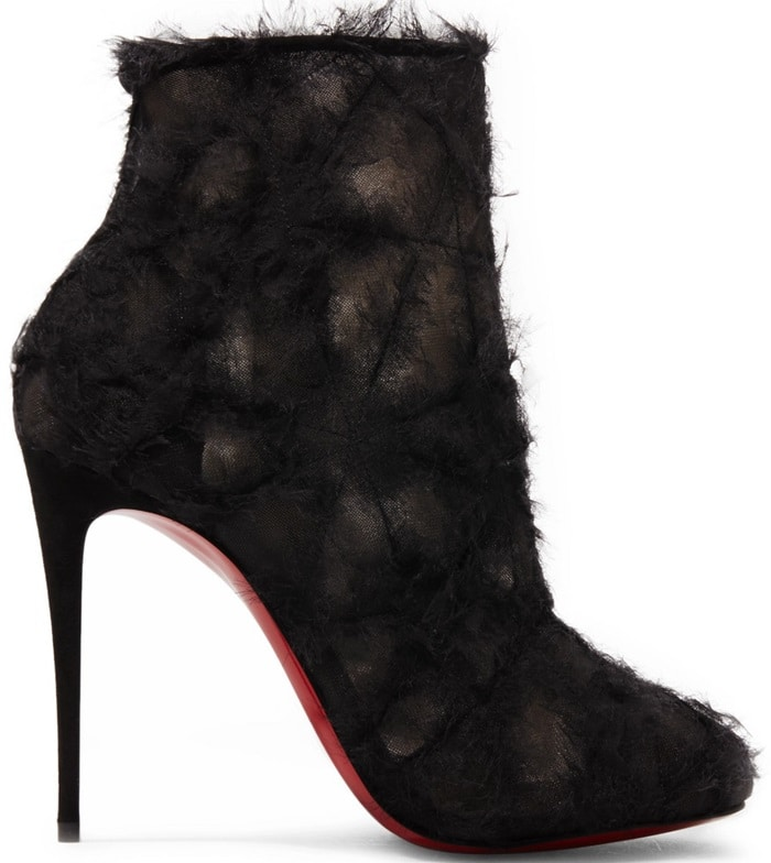 Christian Louboutin's Toubootfrou ankle boots are crafted of beige mesh layered with black shredded organza