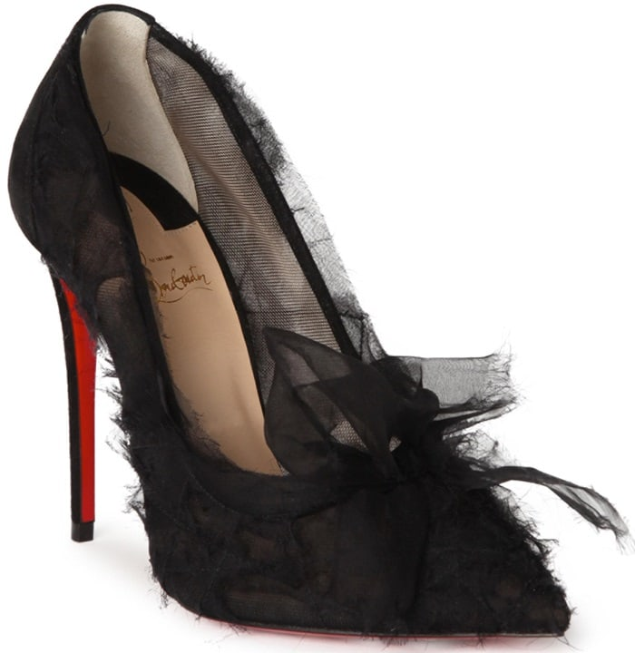 'Toufrou' Frayed Chiffon Pumps in Black