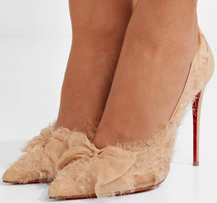 Christian Louboutin Toufrou 100 bow-embellished frayed chiffon pumps