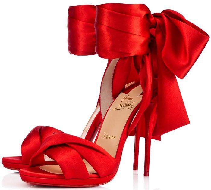 Christian Louboutin's Scarf-Inspired 'Tres Frais' Flamenco Crepe Satin/Lurex Sandals