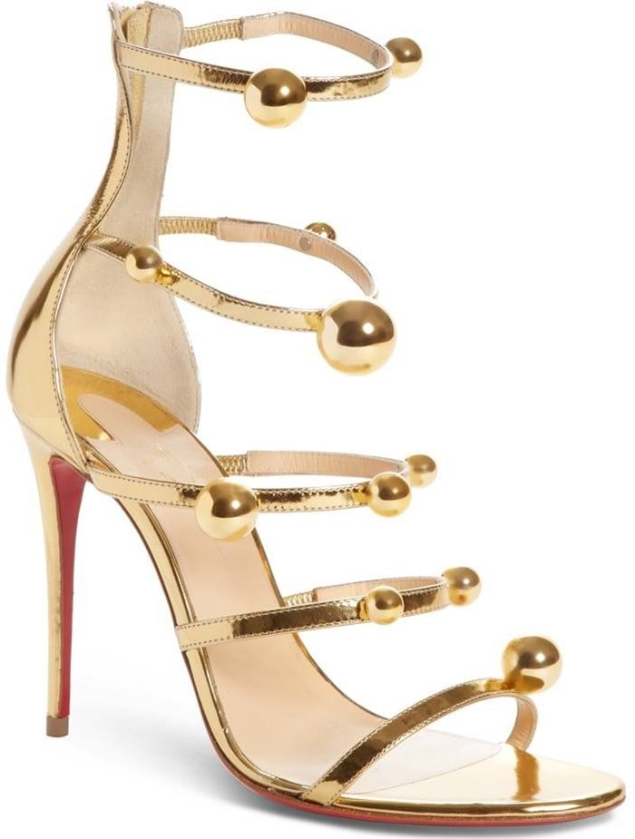 Christian Louboutin 'Atonana' Ornament Sandals in Gold Patent Leather