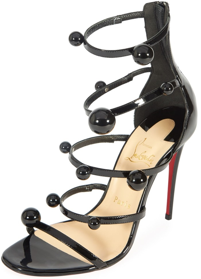 Christian Louboutin 'Atonana' Ornament Sandals in Black Patent Leather