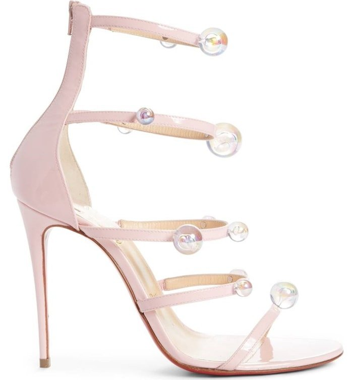 Christian Louboutin 'Atonana' Ornament Sandals in Pompadour Patent Leather