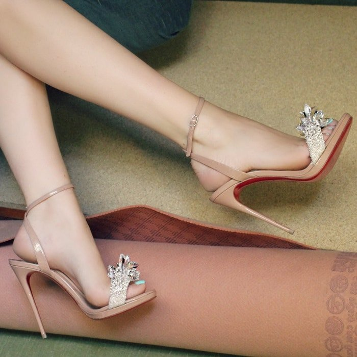 Nude Patent Leather 'Crystal Queen' Sandals