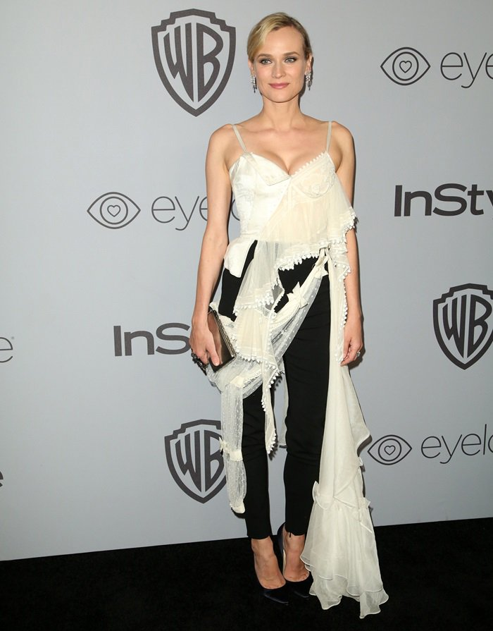 Diane Kruger wearing a Alexander McQueen Spring 2018 look at the InStyle and Warner Bros. Party held after the 2018 Golden Globe Awards at the Beverly Hilton Hotel in Beverly Hills, California, on January 7, 2018