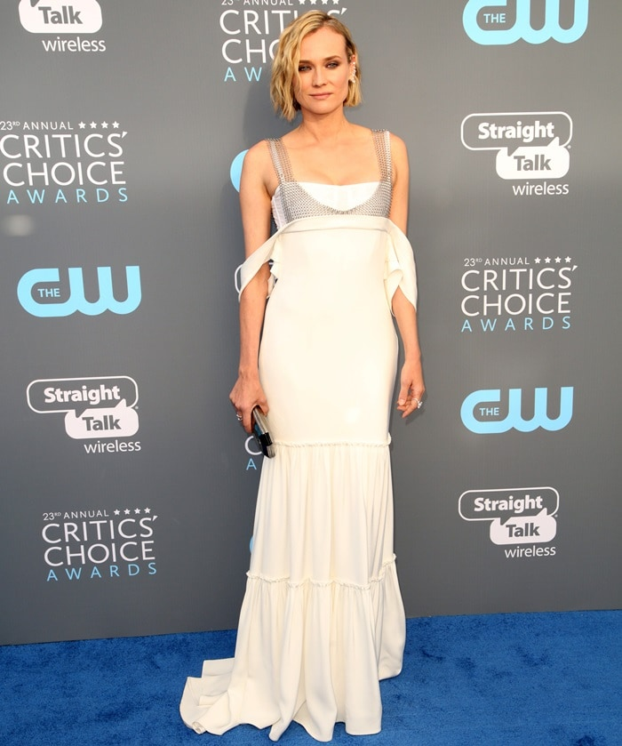 Diane Kruger wearing an ivory silk crepe gown from the Vera Wang Collection Spring 2018 at the 2018 Critics' Choice Awards at The Barker Hangar in Santa Monica, California, on January 11, 2018