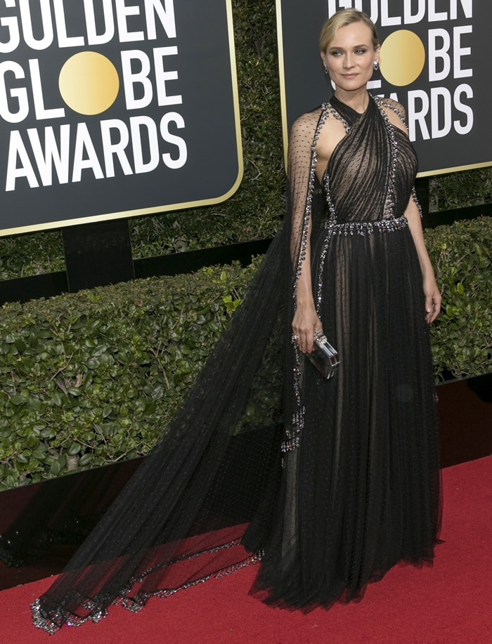 Diane Kruger wearing a dotted tulle gown from Prada at the 2018 Golden Globe Awards held at the Beverly Hilton Hotel in Beverly Hills, California, on January 7, 2018