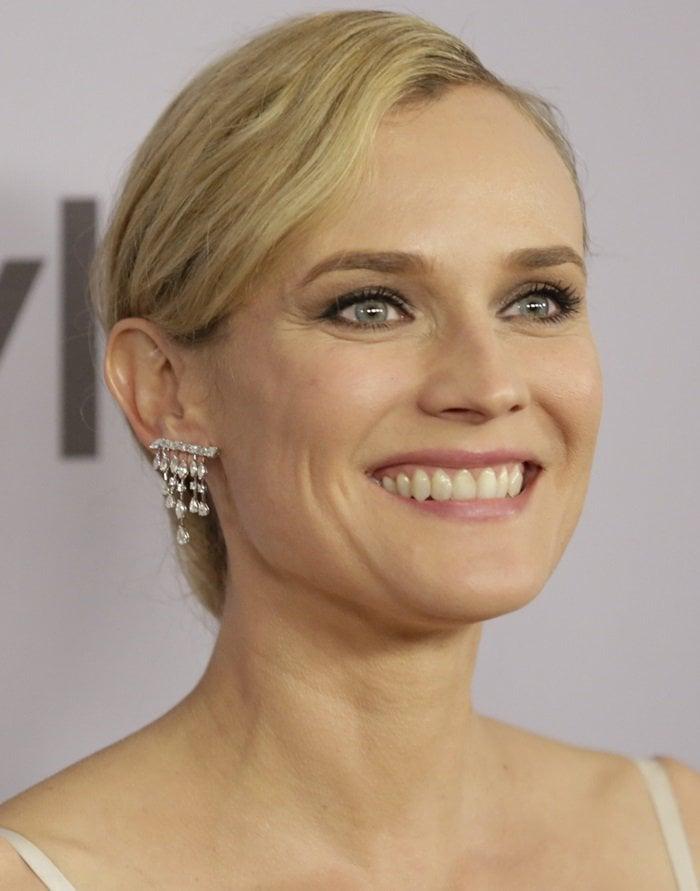 Diane Kruger showing off her Graziela Gems earrings
