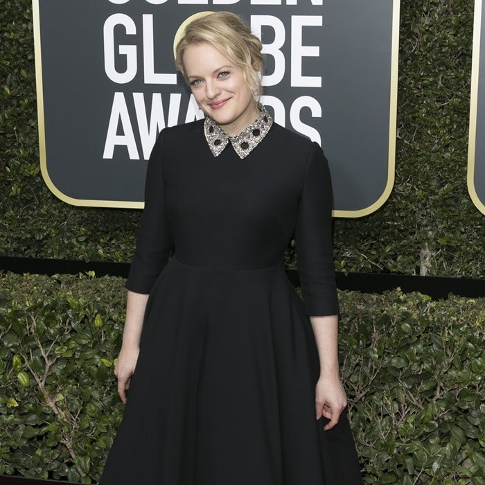 Elisabeth Moss wearing a Dior Haute Couture dress at the 2018 Golden Globe Awards held at the Beverly Hilton Hotel in Beverly Hills, California, on January 7, 2018