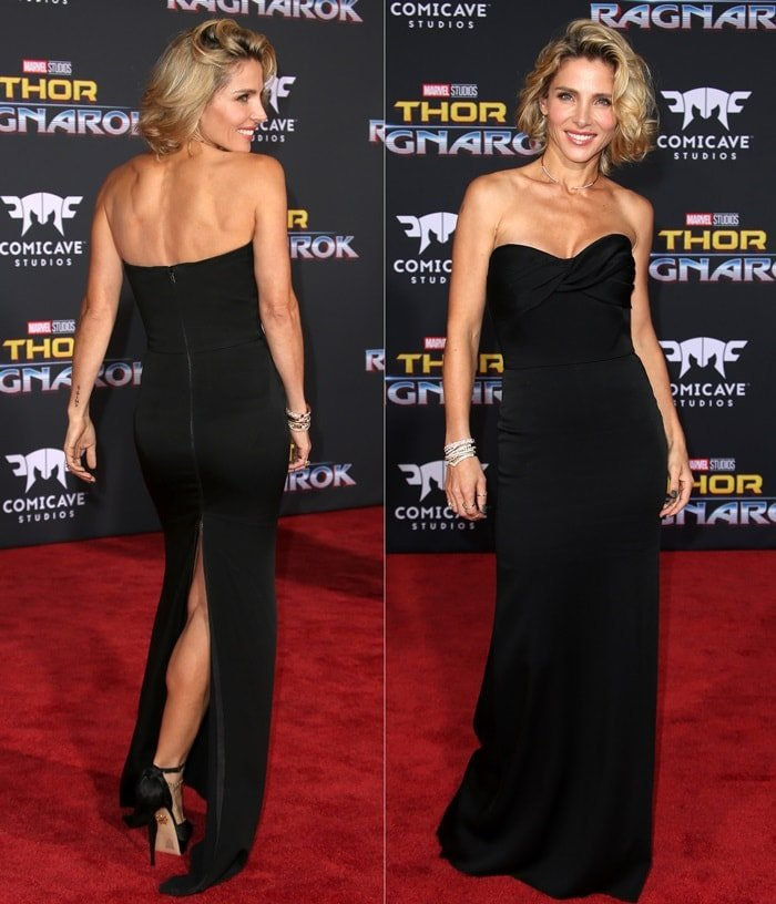 Elsa Pataky wearing a Victoria Beckham Resort 2017 gown styled with a gold choker necklace