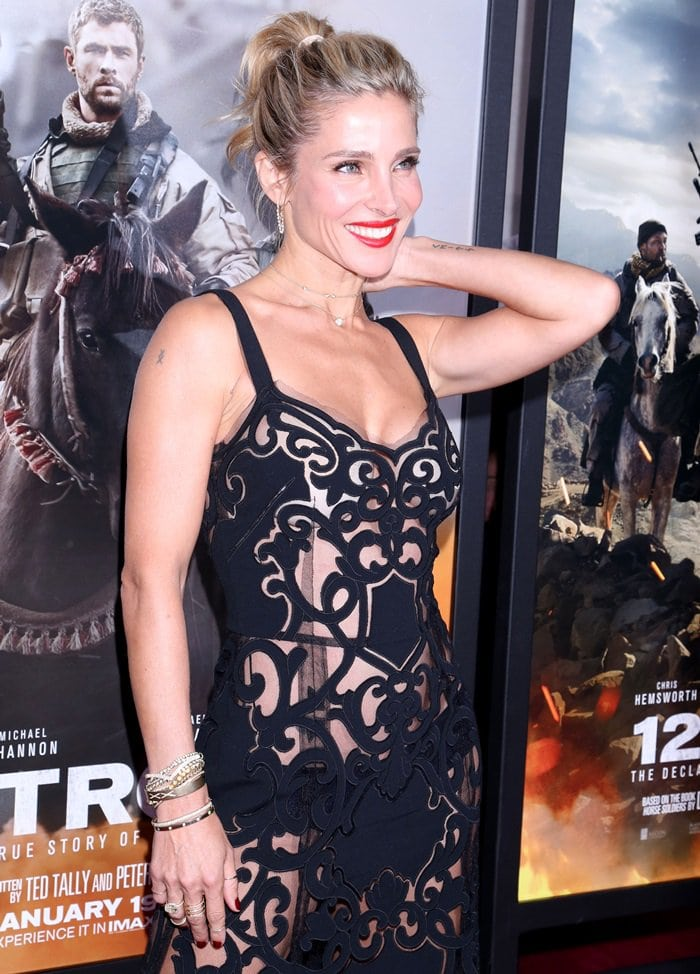 Elsa Pataky wearing a floor-length black cut-out dress from the Dolce & Gabbana Spring 2017 collection