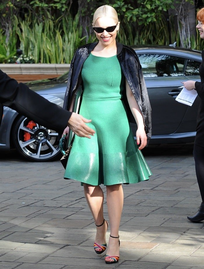 Emilia Clarke donned a forest-green dress from the J.W. Anderson Spring 2018 collection