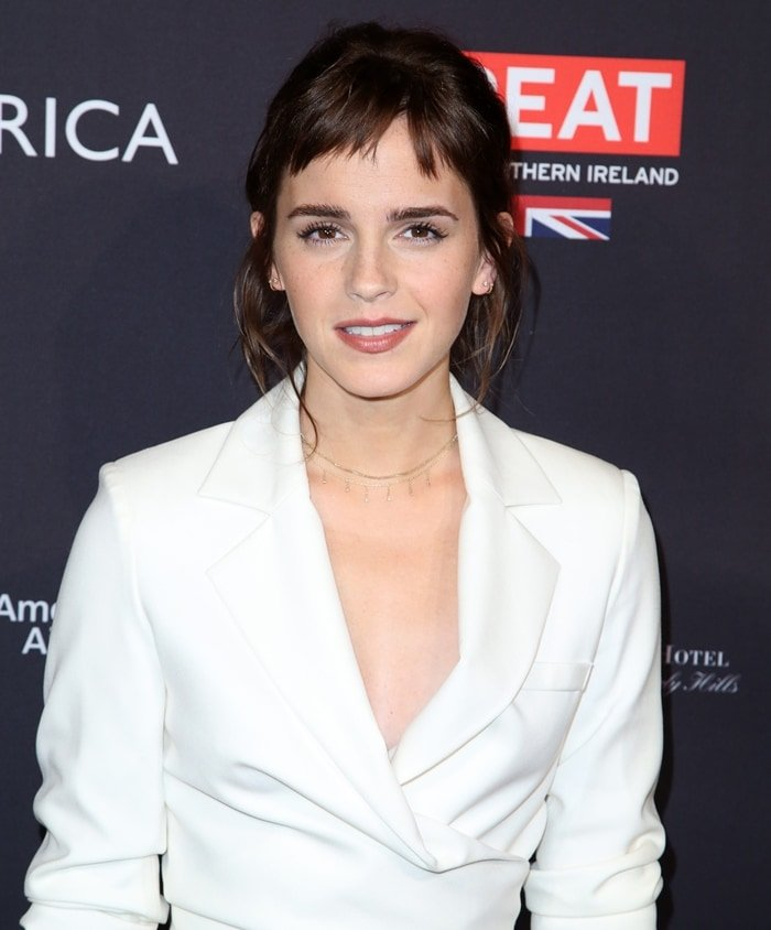 Emma Watson rocking an outfit from the Osman Resort 2018 collection for the BAFTA Tea Party at the Four Seasons Hotel in Los Angeles on January 6, 2018