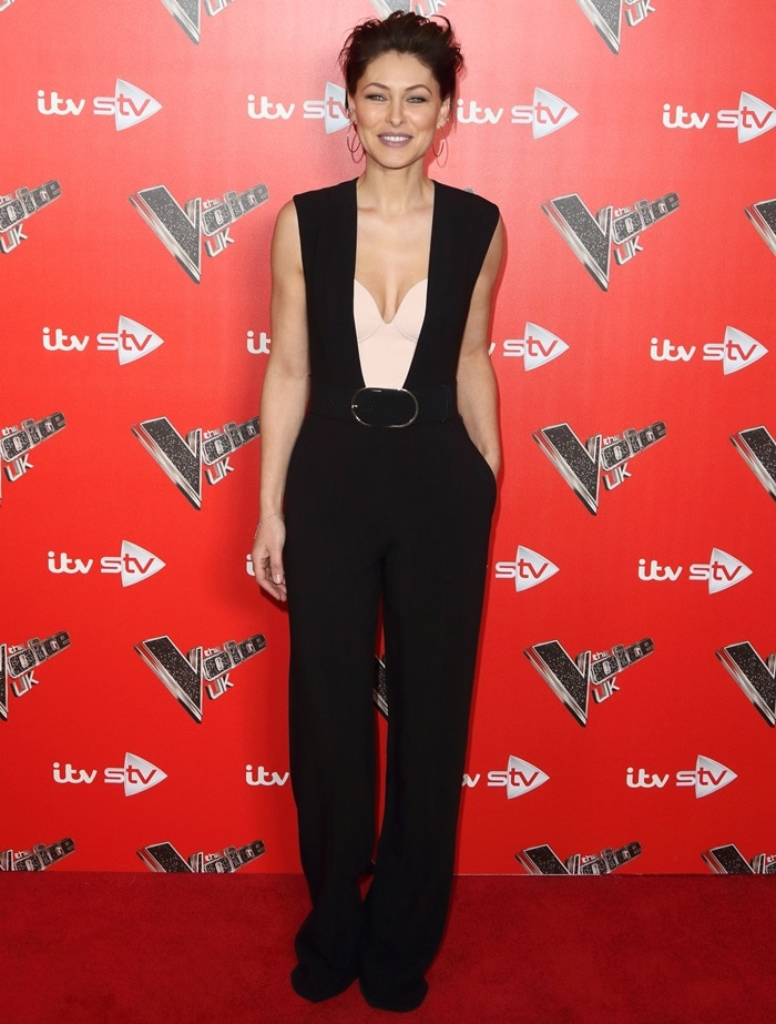 Emma Willis in a black 'Paola' sleeveless wide-leg cady jumpsuit from Stella McCartney's Pre-Fall 2016 Collection