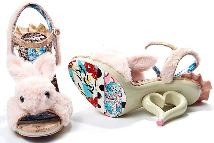 Irregular Choice Pink Bunny 'Fluffy Love' Sandals