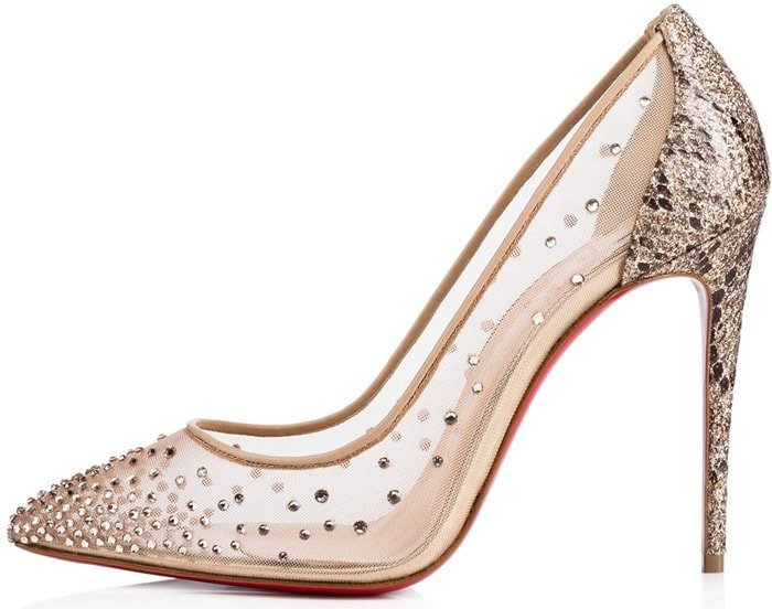 "Light up the evening in neutral mesh ""Follies Strass"" pumps that are embellished with a sparkling gradient of hand-placed crystals"