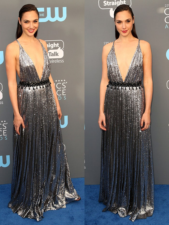 Gal Gadot attending the 2018 Critics' Choice Awards held at The Barker Hangar in Santa Monica, California, on January 11, 2018.