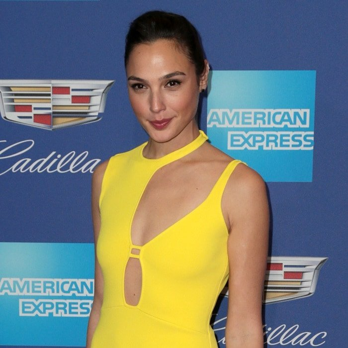 Gal Gadot's yellow knit dress with cutout detailing from Esteban Cortazar