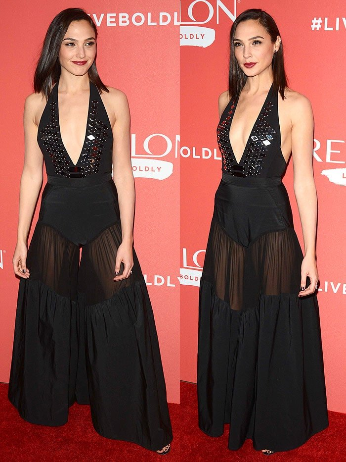 Gal Gadot's Mugler jumpsuit made it appear as though she was wearing a one-piece swimsuit over top of palazzo pants.