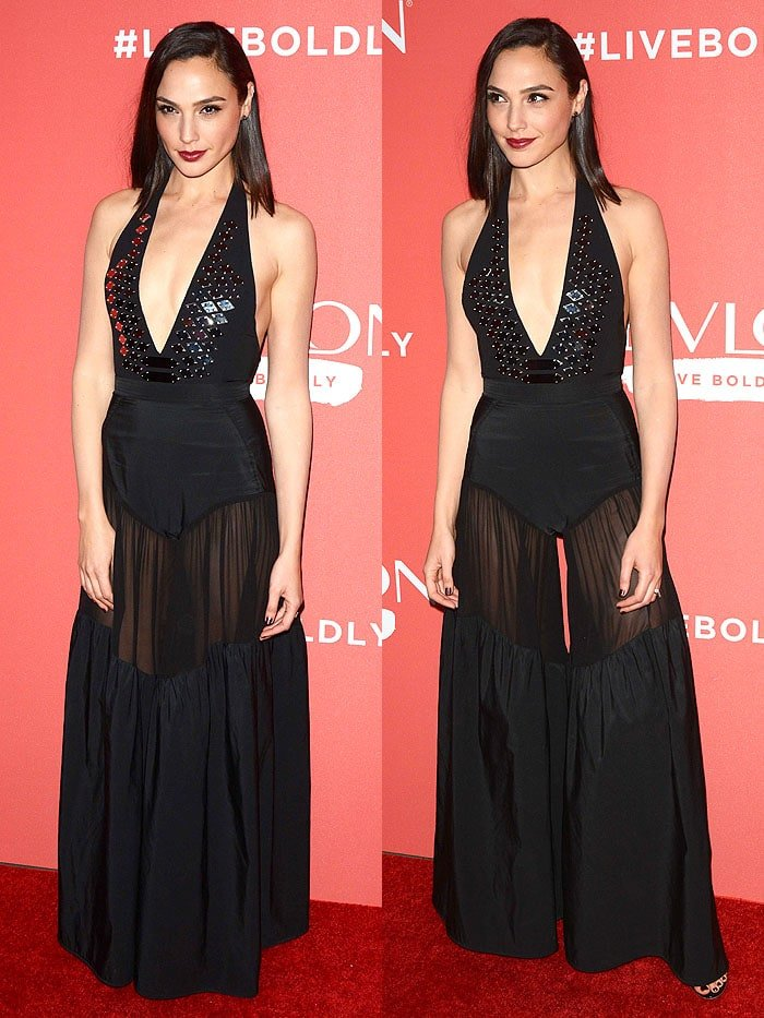 Gal Gadot with a camel toe in an ill-fitting Mugler Spring 2018 halter jumpsuit.