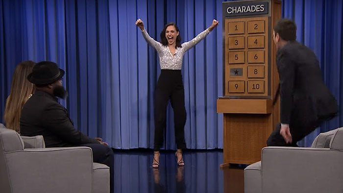 Gal Gadot playing a game Charades during her guest appearance on an episode of The Tonight Show Starring Jimmy Fallon