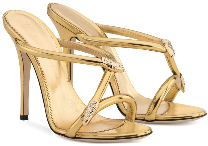 Gold laminated leather sandal with snake accessory