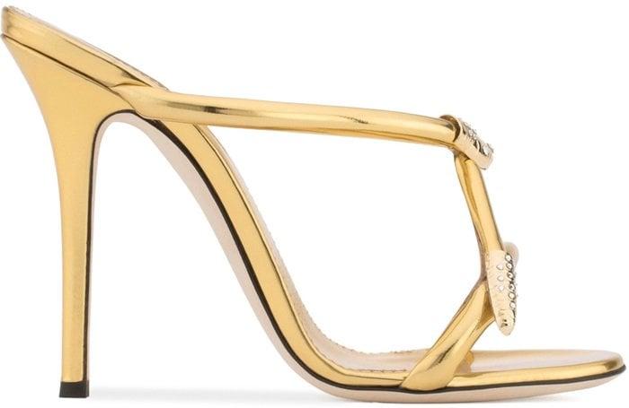 Gold laminated 'Aleesha' mule with snake detail