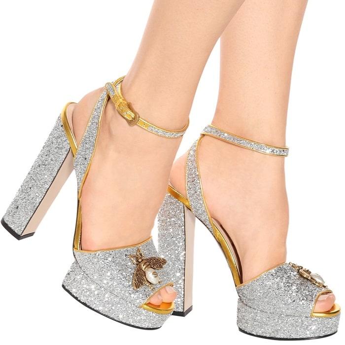 3e2269389cd6 Saoirse Ronan Rocks Bee-Embellished Gucci Glitter Pumps