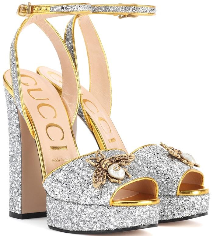 Gucci Embellished Plateau Glitter Pump