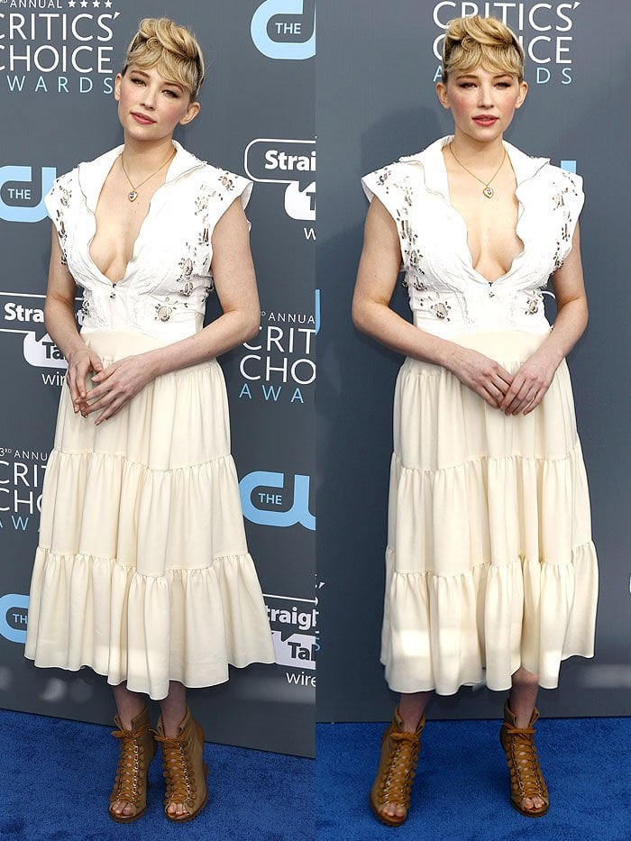 Haley Bennett wearing a Chloe Spring 2018 dress at the 2018 Critics' Choice Awards held at the The Barker Hangar in Santa Monica, California, on January 11, 2018.