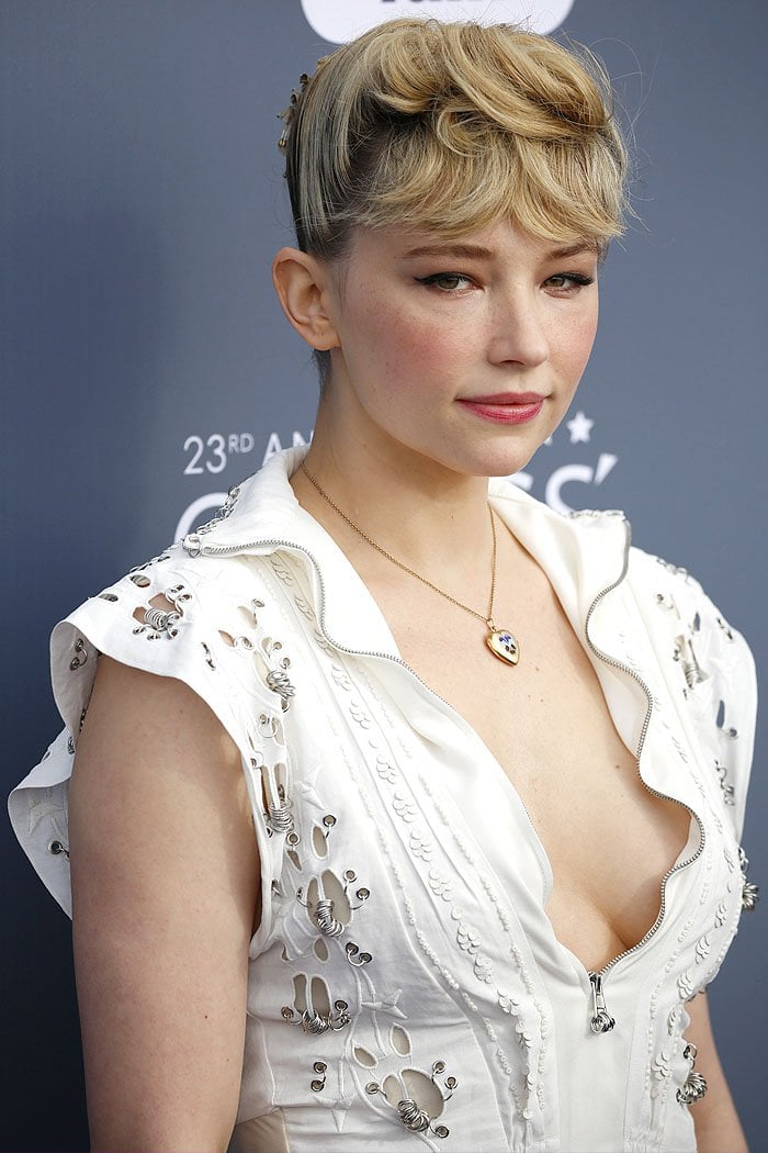 Haley Bennett did herself no favors with her bangs comb-over updo