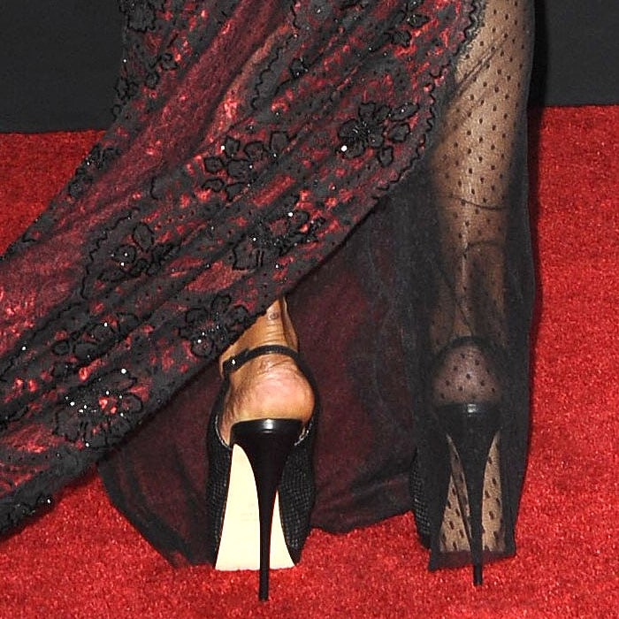 Giuseppe Zanotti mesh peep-toe platform slingbacks on Halle Berry