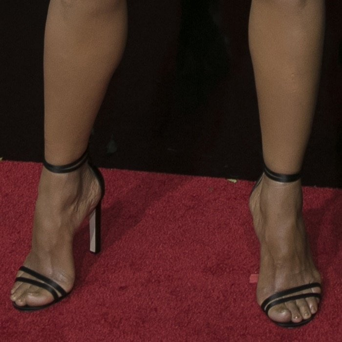 Halle Berry showing off her feet in strappy Jimmy Choo heels
