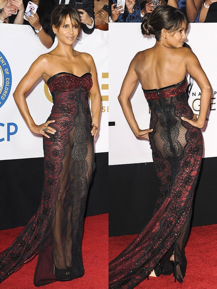 Halle Berry experiencing a wardrobe malfunction and exposing her crotch through the sheer lace fabric of her Reem Acra fall 2016 gown.