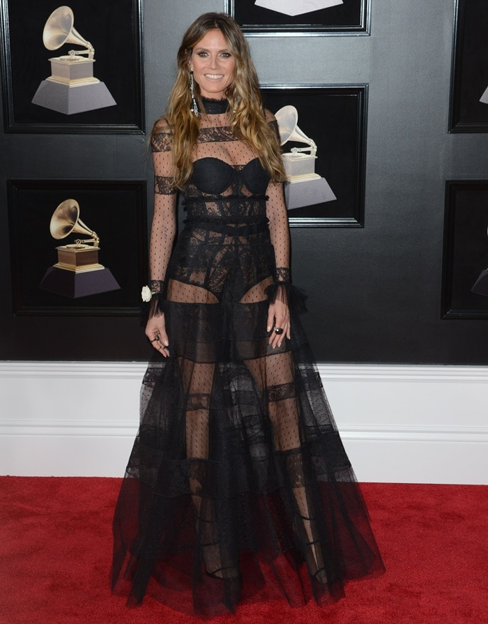 Heidi Klum did not leave much to the imagination in a lingerie-esque gown from the Ashi Studio Fall 2017 Couture collection at the 2018 Grammy Awards held at Madison Square Garden in New York City on January 28, 2018