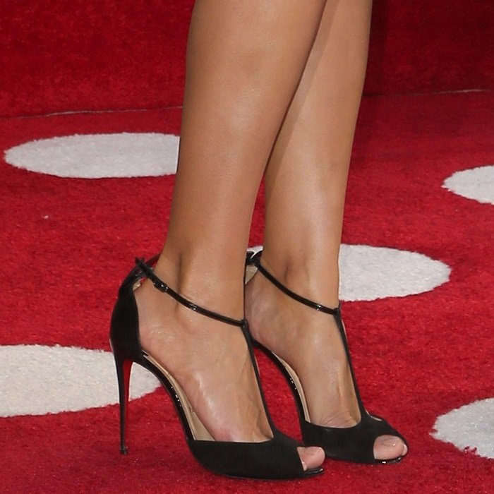 Heidi Klum wearing Christian Louboutin 'Aribak' 100 bow-embellished leather and suede T-bar sandals
