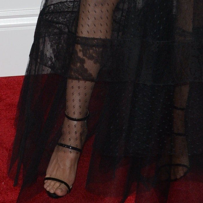 Heidi Klum wearing black patent leather 'Harmony' sandals from Giuseppe Zanotti